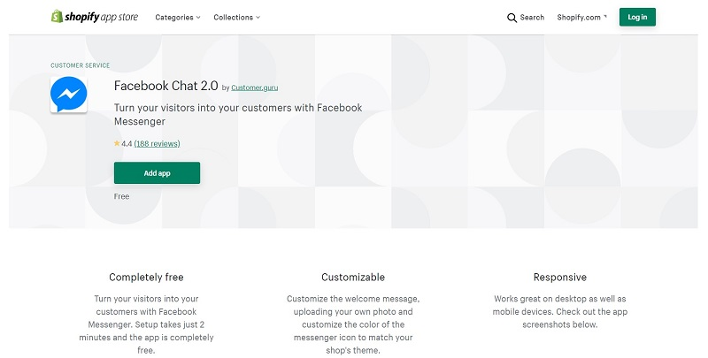 Another Shopify app for Facebook Chat. Source: Shopify