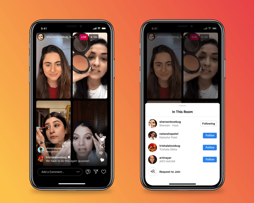 Go Live with a total of 4 people using Instagram Live Rooms