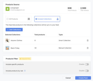 Now, you can include collections in your product feed
