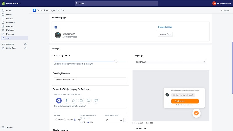 Customize how your Facebook Messenger for Shopify looks like with Omega. Source: Shopify