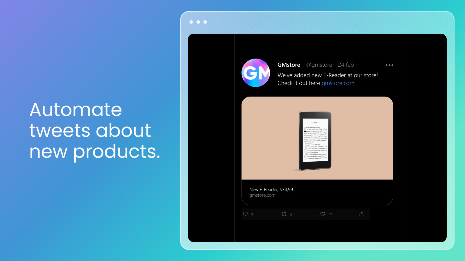 Automate your products posts on Twitter. Source: Shopify