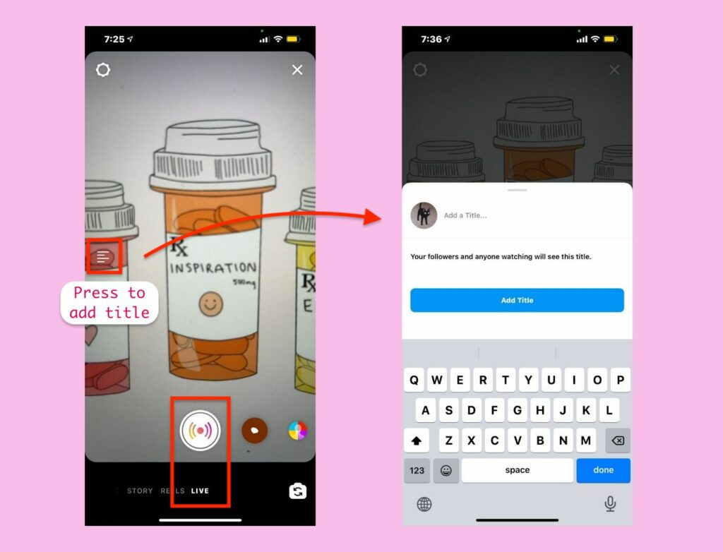 Step-by-step of how to start an Instagram Live Rooms