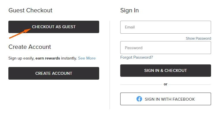 """Give your customers various options, including """"Guest Checkout"""""""