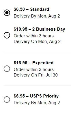 Available shipping options at Sephora.com with crystal clear delivery times