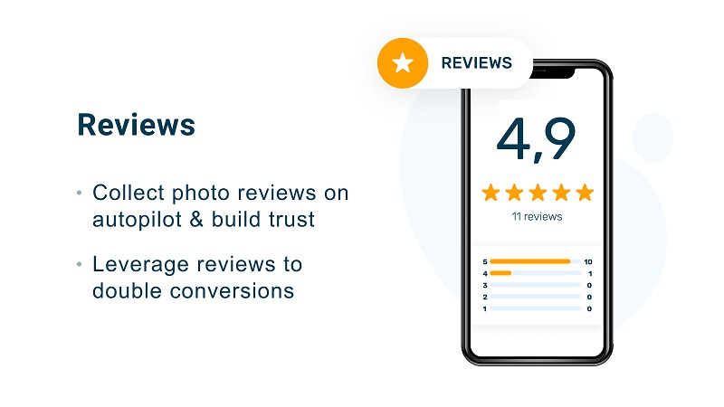 Collect reviews and build trust for your brand. Source: Shopify