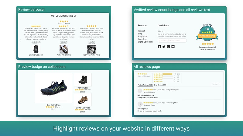 Make a Carousel of your product ratings. Source: Shopify