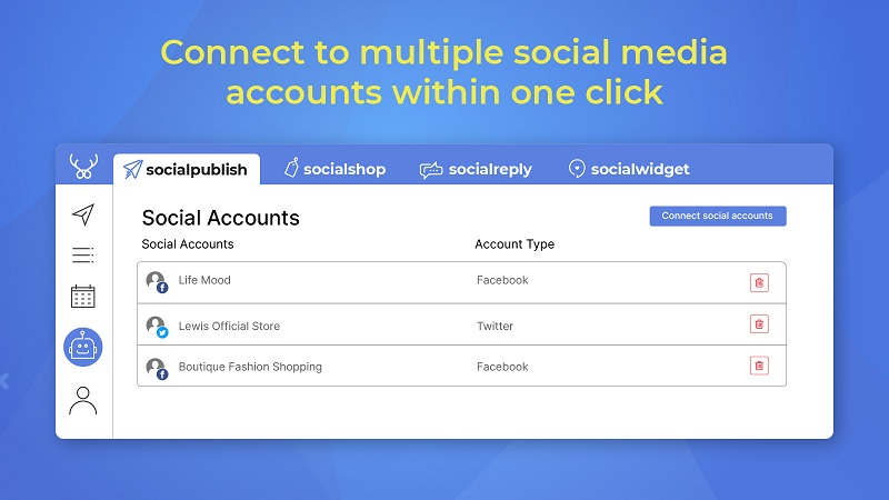 Manage all your accounts in one place with Socialpublish