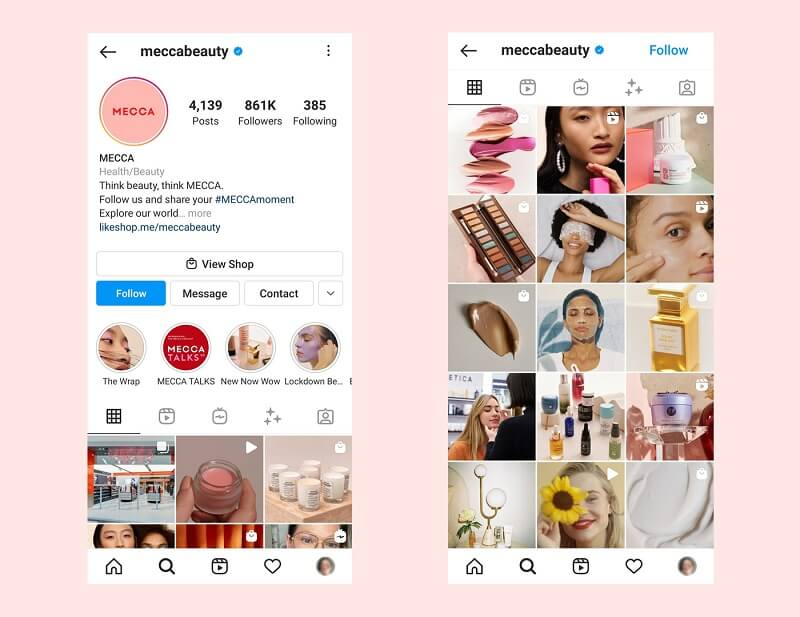 See how an Instagram brand, MECCA, plans their feeds