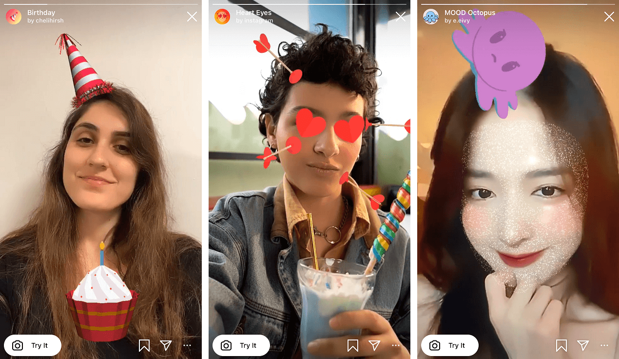 These are examples of the so-called Instagram Stories AR Filters