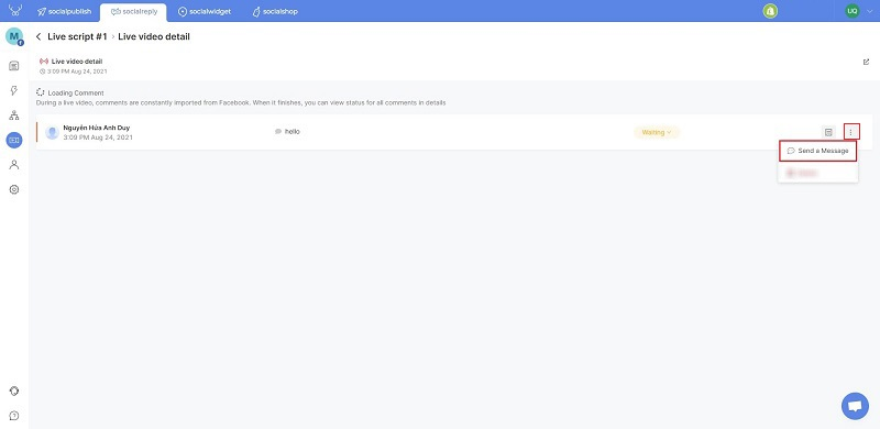 Socialreply V2.6 lets you manage comments in the live script