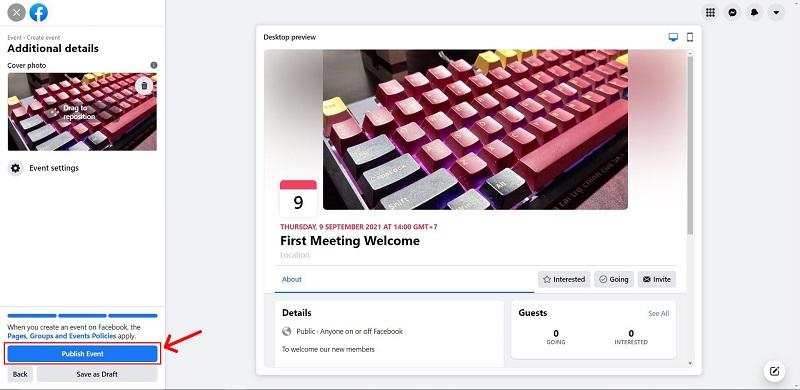 Click Publish Event your Facebook Live Event