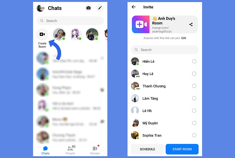 Create your Rooms on the Messenger app