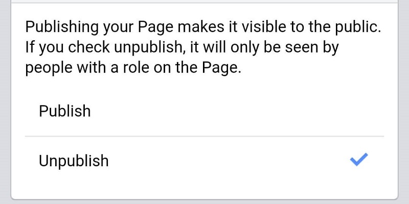 Unpublish your Page to test Facebook Live