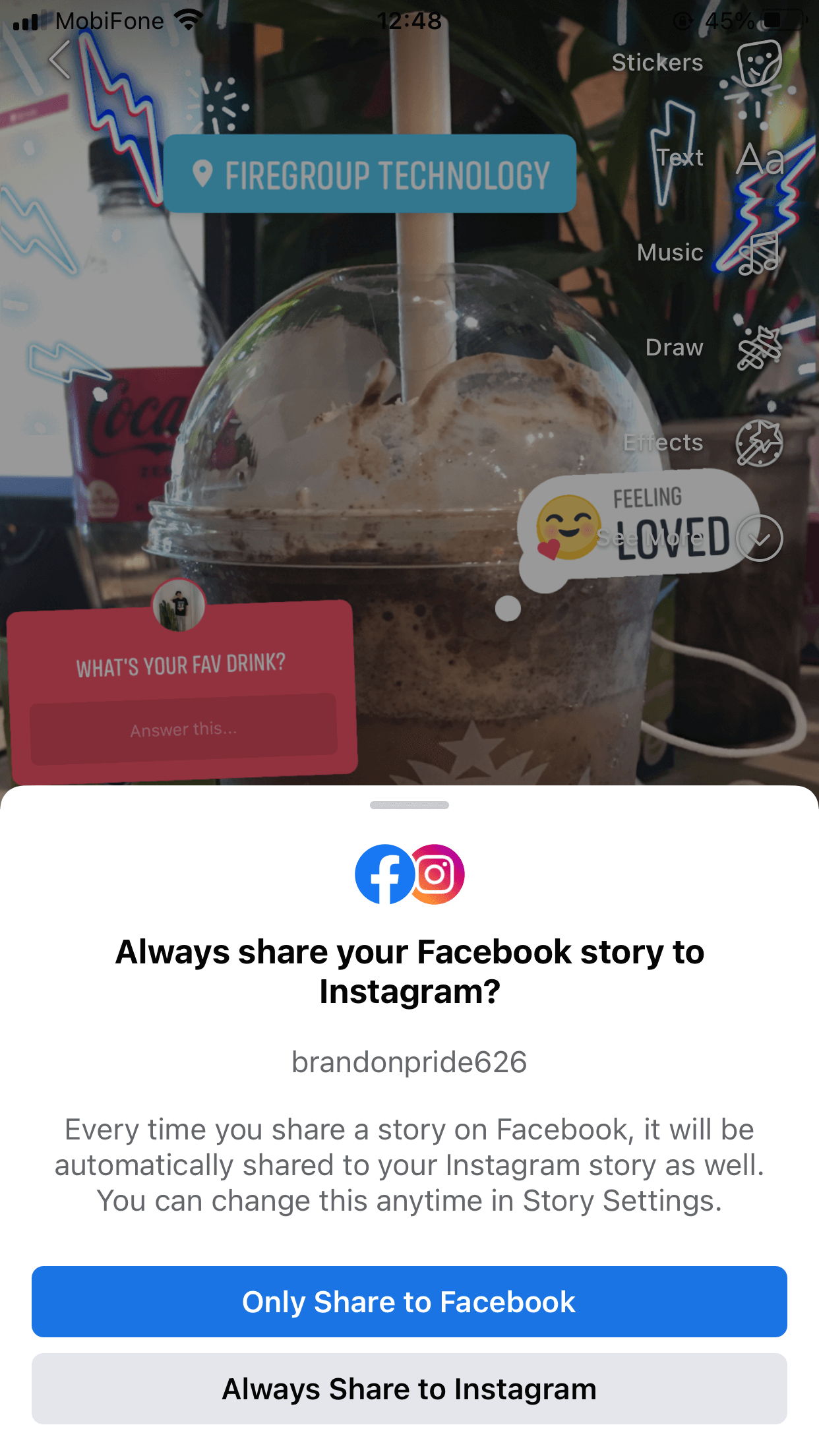 You can now link your Facebook and Instagram Stories and cross-post on the two social media platforms at once!