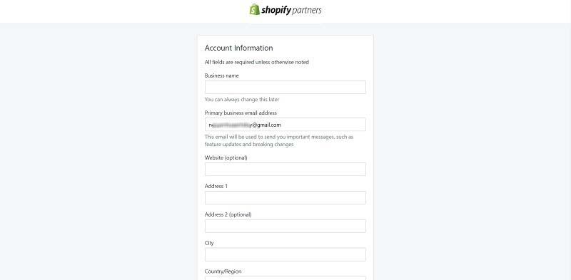 Fill in your account information