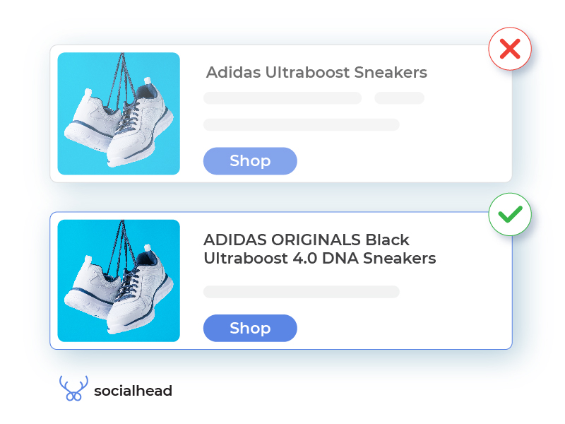 Normal vs optimized Google Shopping product titles