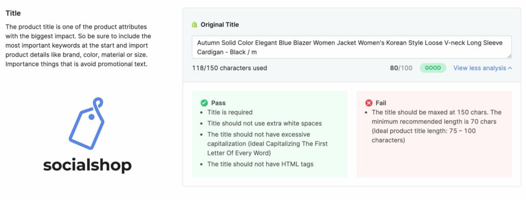 Optimizing titles helps you increase discoverability for products