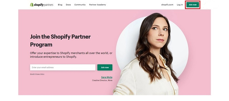 Go to the Shopify Partner page